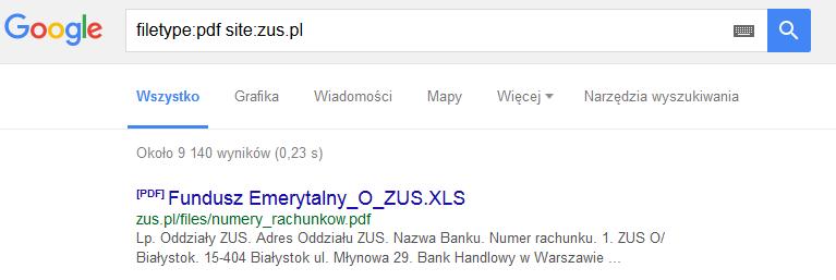 Zus Wyniki wyszukiwania z operatorem filetype
