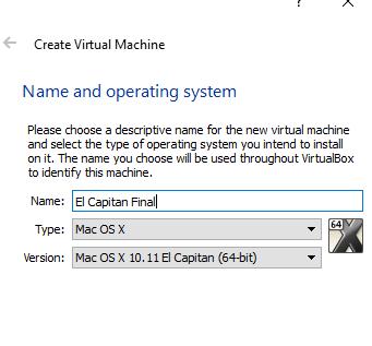 Nazwa Maszyny wirtualnej z Mac OS
