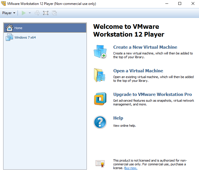 VMware Player Interfejs