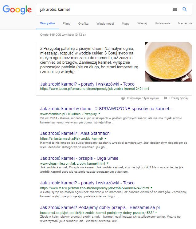 Jak zrobić karmel - odpowiedź Google