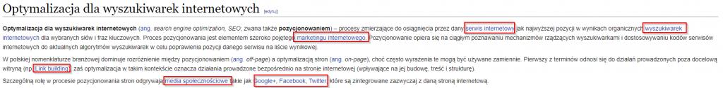 Linki z treści - linkowanie wewnętrzne na wikipedia