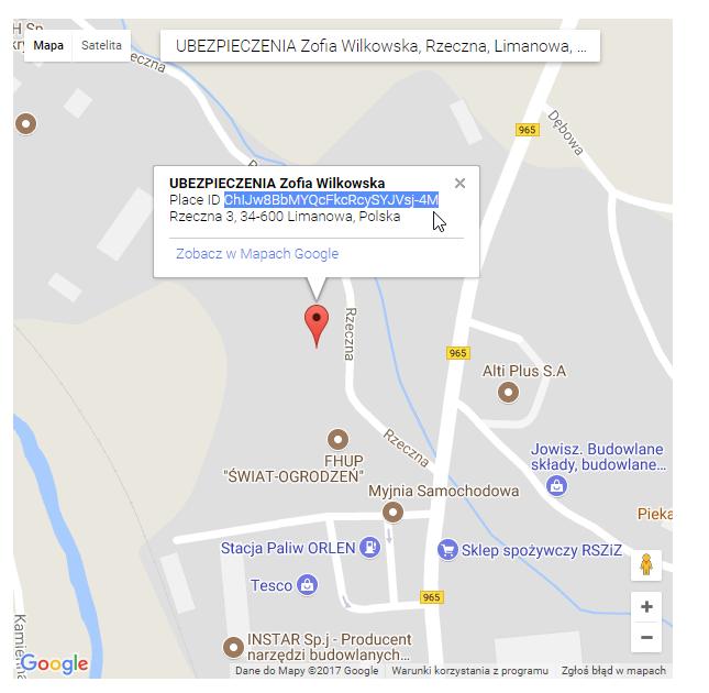 ID Wizytówki Google