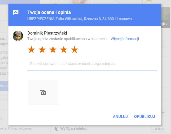 Formularz opinii w Google