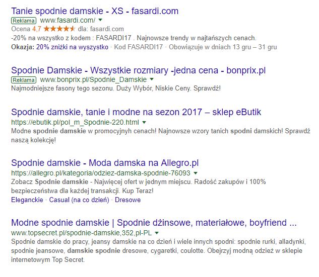 etykiety adwords w wyszukiwarce