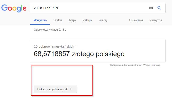 Google ucina wyniki wyszukiwania dla konkretnych zapytań
