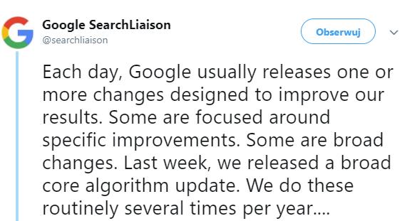 Aktualizacja algorytmu Google Marzec 2018