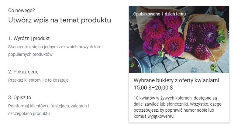 Google Post produkt
