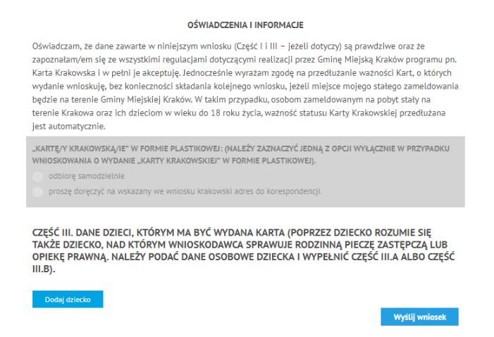 Wydanie Karty Krakowskiej - Wniosek część trzecia