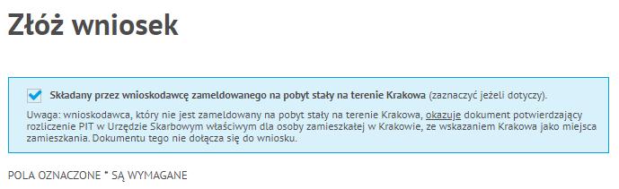 Stałe zameldowanie - Wniosek o Kartę Krakowską