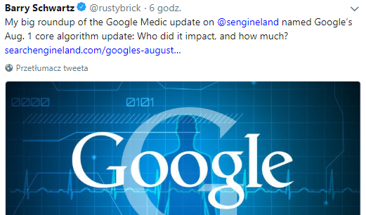 Aktualizacja algorytmu Google Sierpień 2018