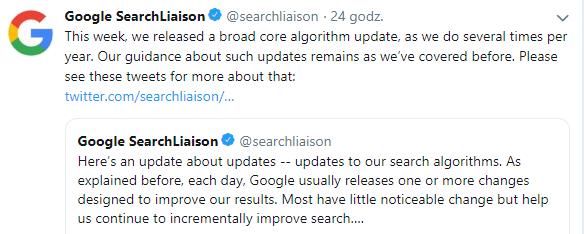 Aktualizacja algorytmu 12-13 marca 2019