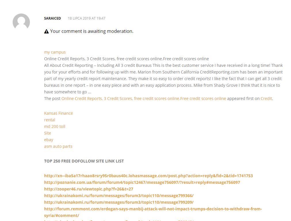 Zaindeksowany Spam w komentarzach w moderacji