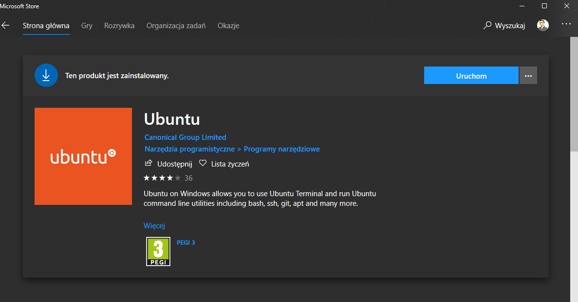Instalacja ubuntu na windows 10 za pośrednictwem Store Microsoft